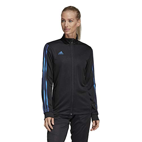 adidas Women's Alphaskin Tiro Training Jacket, Black/Blue Pearl Essence, Large