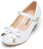 ADAMUMU Girls Low Heel Shoes PU Dress Shoes for Wedding(Little Big Kids)