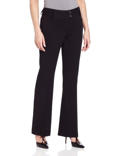 Rafaella Women's Curvy Fit Gabardine Boot Leg Trouser, Black, 6