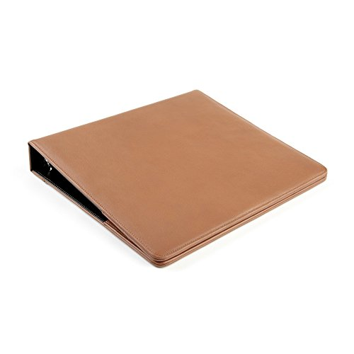Leatherology Deluxe 3-Ring Presentation Binder with Interior Pockets - Full Grain Leather - Cognac (brown) by Leatherology