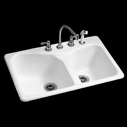 American Standard 7045.804.208 Cast Iron Double Bowl Kitchen Sink ...