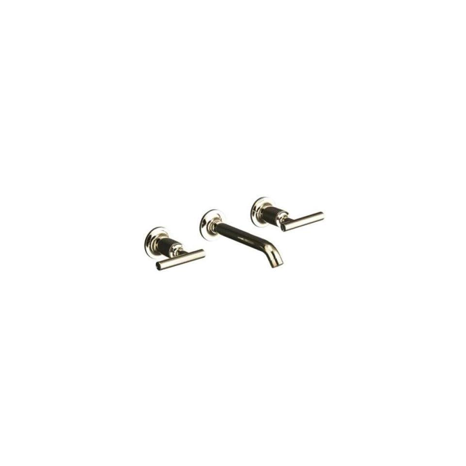 Kohler Purist Polished Nickel Wall Mount Bathroom Sink Faucet, 8 1/4 Spout+Cylinder Lever Handles