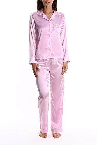 Blis Women's Satin Long Sleeve Sleep Shirt and Lounge Pants PJ Set - Ladies Pajamas & Sleepwear - Blush Flower, Medium -