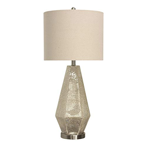 Thomas Crackled Mercury Glass Table Lamp - White Shade - White Crackled Glass Shade