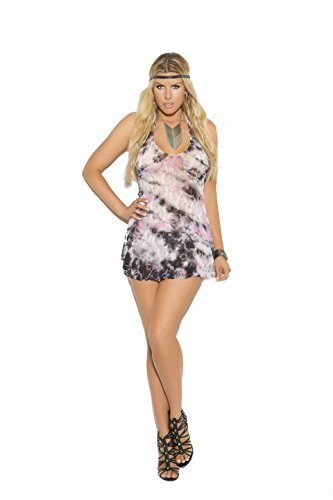 Zabeanco Lace Halter Style Mini Dress with A Matching G-String (Plus Size) by Zabeanco