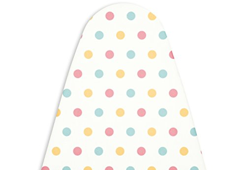 (Encasa Homes Replacement Ironing Board Cover with Thick Felt Pad, Drawstring Tightening, (Fits Standard Large Boards of 15 x 54 inch) Heat Reflective, Scorch & Stain Resistant, Printed - Polka Dot)