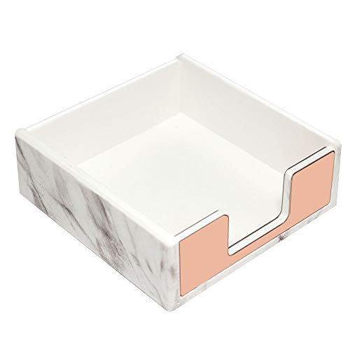 - Modern Marble Texture Rose Gold Sticky Note Holder Workspace Acrylic Notepads Paper Cube Tray Office Desk Decors Student Gift