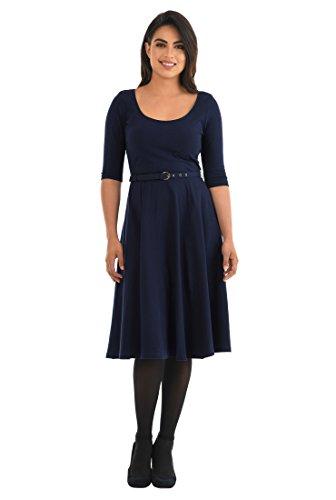 eShakti Women's Cotton Knit Belted Dress XL-16 Regular Deep (Belted Knit Dress)