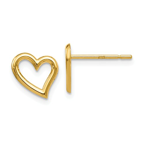 14K Yellow Gold Polished Open Heart Post Earrings (Approximate Measurements 9mm x 9mm)