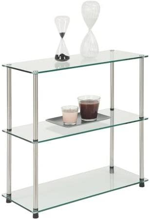 3-Shelf Moisture-Resistant Glass Bookcase