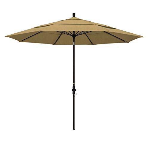 California Umbrella 11' Round Aluminum Pole Fiberglass Rib Market Umbrella, Crank Lift, Collar Tilt, Bronze Pole, Champagne Olefin