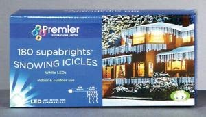 - Premier Decorations 180 Led Blue And White Supabrights Snowing Icicle Lights By Premier
