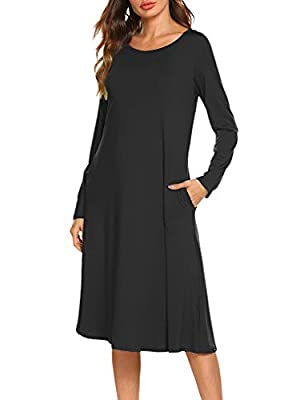 Locryz Women's Comfy Long Sleeve O-Neck Swing Midi T-Shirt Dress with Pockets