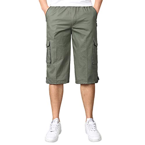 (Youngh Lightweight Workout Running Athletic Shorts Seven-Point Multi-Zip Multi-Pocket Built-in Corded Cargo Shorts (XL, Army Green) )