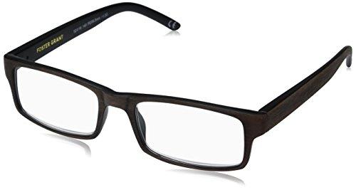 Foster Grant Men's Aiden Brown 1017891-150.COM Rectangular Reading Glasses, Brown, ()