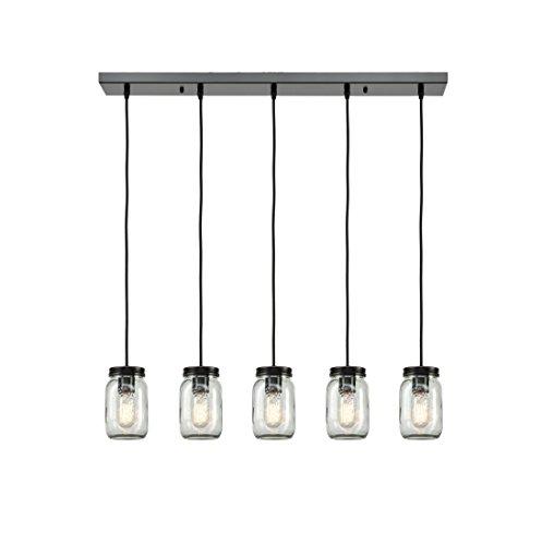 EUL Mason Jar Light Fixture 5-Light Linear Chandelier Glass Hanging Pendant Lights Oil Rubbed Bronze Kitchen Island Lighting