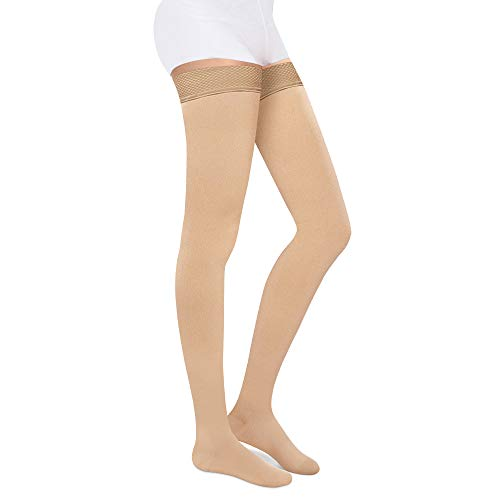 SKYFOXE Medical Thigh High Compression Stockings for Women Men- Closed Toe Firm Support 20-30 mmHg Gradient Compression Socks Support Hose for Treatment Swelling, Varicose Veins, Edema (Beige, XXL)