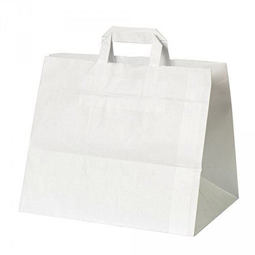 50 Stück Papiertragetasche / Kuchentragetasche in weiß 32+21x25 cm - good4food