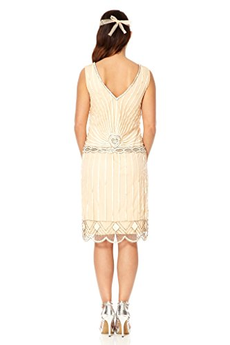 Charleston Vintage Inspired Flapper Dress In Nude