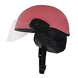 Western Era Half Foam Helmet with Clear Visor for Men & Women Safety & Comfort Stylish Enhanced Design (Pink Matte…