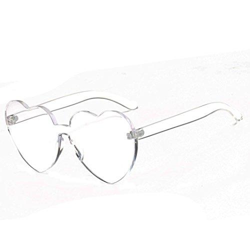 Outdoor Sunglasses - Fheaven Women Fashion Heart-shaped Shades Sunglasses Integrated UV Candy Colored Glasses - H Sunglass