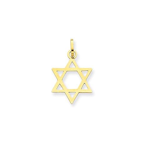 14k Gold Star of David Pendant (0.83 in x 0.55 in)
