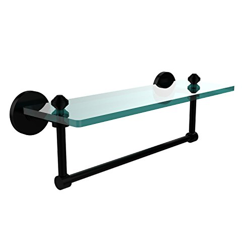Review Allied Brass SB-1TB/16-BKM Glass Shelf with Towel Bar, 16-Inch x By Allied Brass by Allied Brass