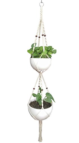 Macrame Plant Hanger & Holder, Hanging Planter 4 Legs Double Deck For 8 inch to 10 inch Two Pots Indoor Outdoor Hanging Planter Hemp Rope 67 Inch with Metal ring (Cotton)