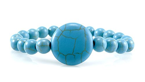 Blue Turquoise with Big Round Charm December Birthstone Throat Chakra Healing Stretch Bracelet - Rounds Big