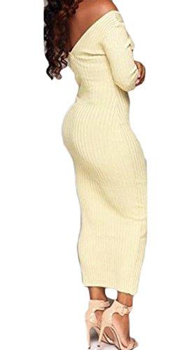 Coolred-femmes Sexy Épaule Large Encolure En V Longues Robes De Soirée En Tricot Manches Blanc Beige