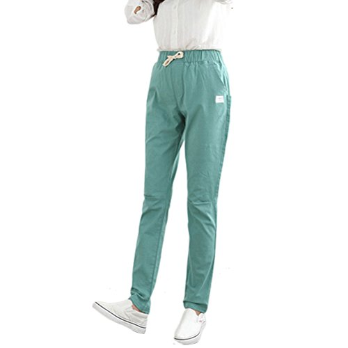 Zhhlinyuan Fashion Pantalones Women Retro Big Size Straight Pants Loose Rope Waist Slim Cotton Linen Harem Pants Green