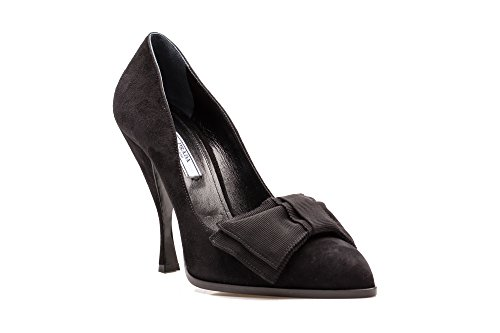 Prada Women's Suede Bow Strap High Heel Pump Shoes Black
