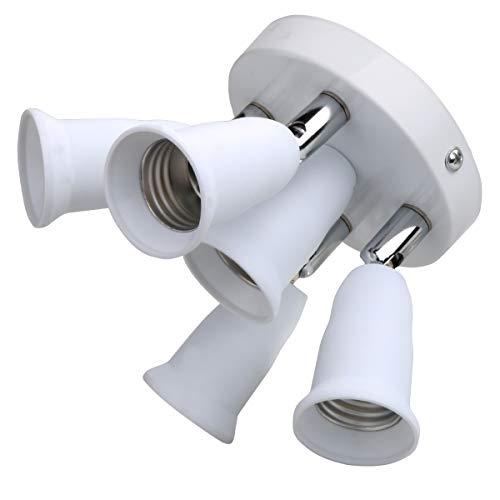 Light Socket Splitter,5 Led Ceiling E26 E27 Multi Light Bulb Adapter,392°F Heat-resistant,Light Adapter Fixture