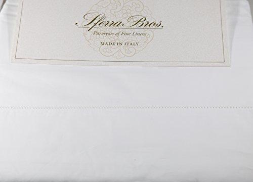 Sferra 500 TC White 100% Egyptian Cotton Percale QUEEN (4) Piece Sheet Set Made in - Sferra Bedding Celeste Luxury