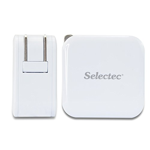 Selectec 4.8A 24W Dual USB Travel Wall Charger with SmartID Technology, Foldable Plug for iPhone iPad, Samsung Galaxy, HTC Nexus Moto Blackberry, Bluetooth Speaker Headset & Power Bank, White