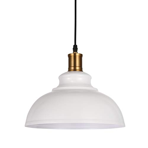 BAYCHEER HL371890 Industrial Retro style Iron Loft Metal Fixture Pendant Lights Lamps with 1 Light, White