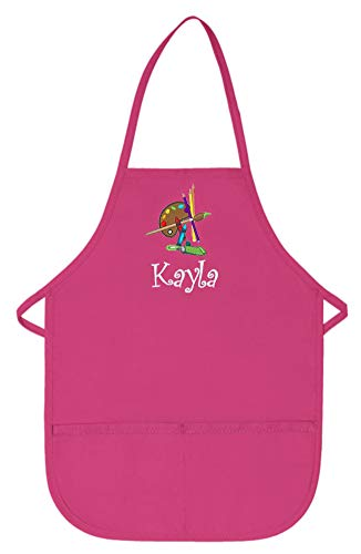 My Little Doc Personalized Hot Pink Kids Art Smock Apron with Palette Embroidery Design Poly/Cotton Twill Fabric Regular