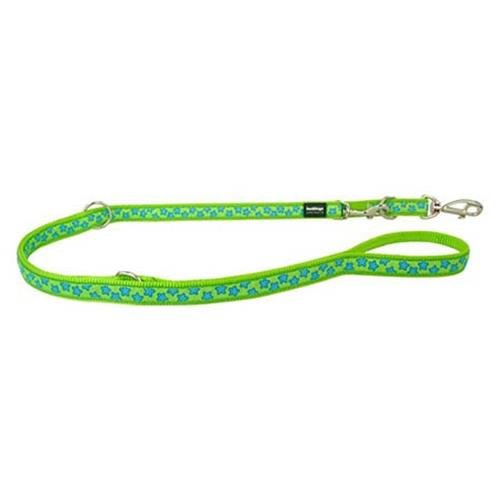 Red Dingo Stars Turquoise on Lime Green multi-purpose dog leash 6,5ft Medium