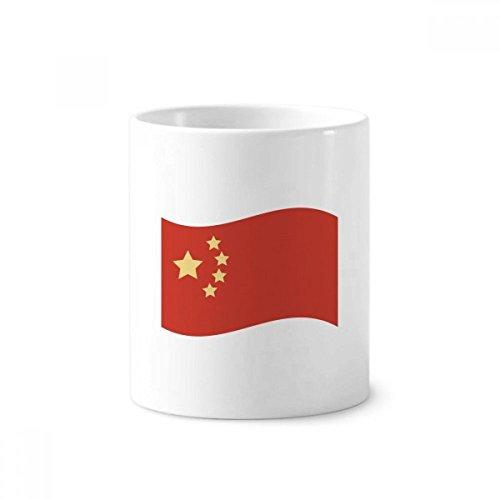 Bandera de China cinco estrellas taza de cerámica de cepillo para polvo para polvo de dientes titular de la pluma regalo...
