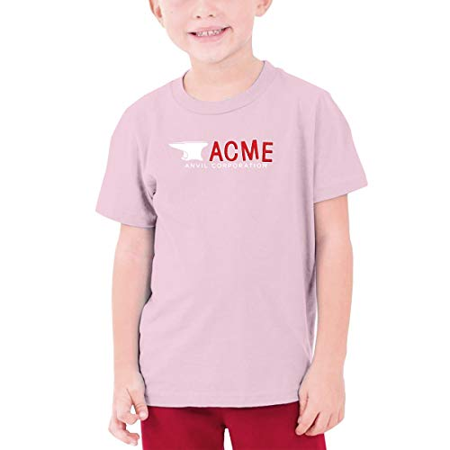 (Unisex Boys Girls Acme Anvil Corporation Short Sleeve Tee O-Neck Cotton Shirt Pink M)