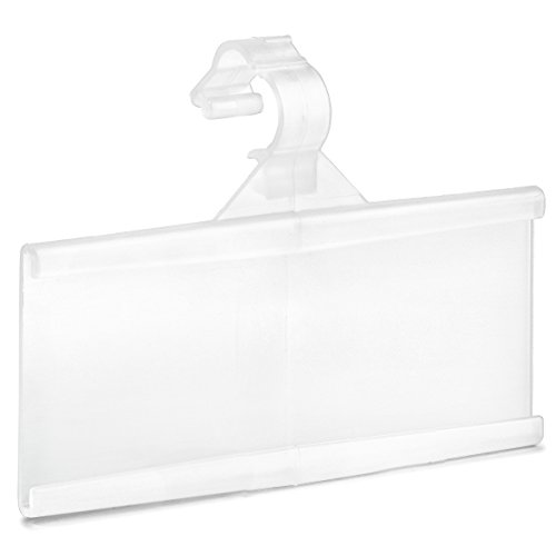 "Pack of 100 - Plastic Wire Shelf Label Holder, Sign and Ticket Holder, Easy Clip Design with Tight Snap Lock Closure. Height, 1-1/4"" X Width, 3"""