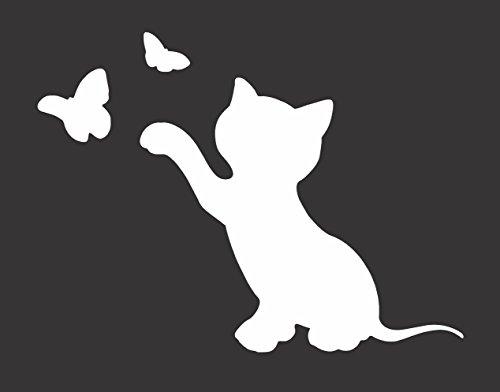 Playful Kitten Butterflies Silhouette - Die Cut Vinyl Window Decal/Sticker for - Butterfly Silhouette