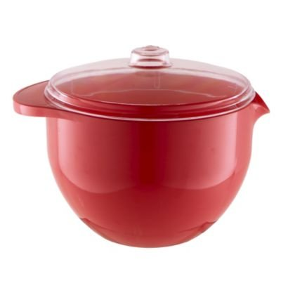 Lakeland Red Stain Proof Microwave Lidded Bowl (Perfect for Soup) 1.4 Litre