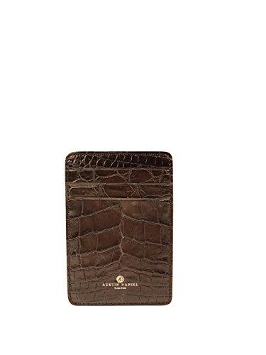 BROWN GENUINE ALLIGATOR LUXURY MEN'S MONEY CLIP CARD HOLDER AUSTIN DANIEL