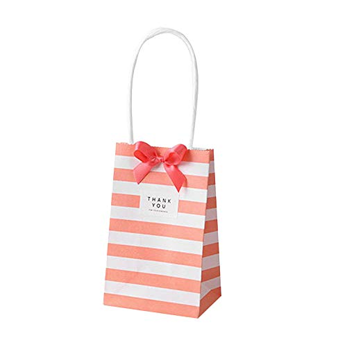 SMARTRICH Paper Party Bags with Handles,Small Stripe Gift Bags for Birthday,Wedding (50Pcs)- no ribbon
