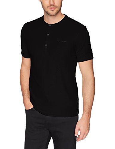 Calvin Klein Men's Short-Sleeve Cotton Henley T-Shirt, Black, L