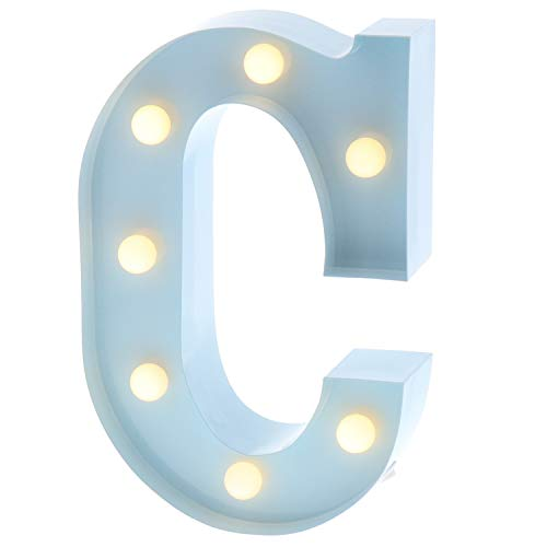 "Barnyard Designs Metal Marquee Letter C Light Up Wall Initial Nursery Letter, Home and Event Decoration 9"" (Baby Blue) ()"