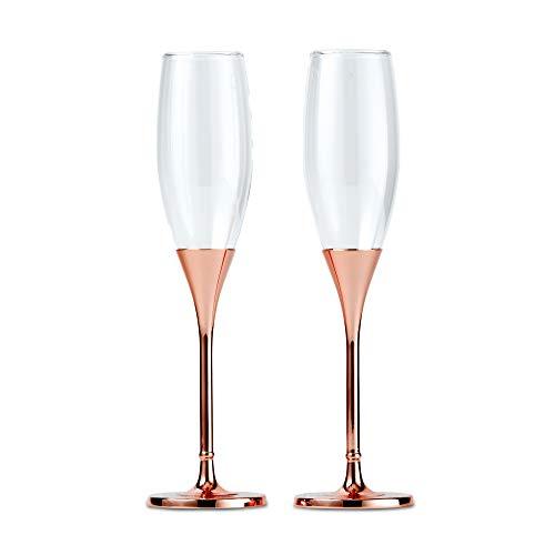Wedding Star 6011 Toasting Flutes – Rose Gold Diamond Glitter