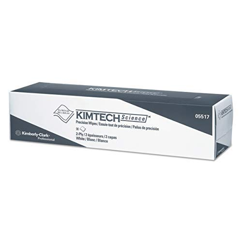 Kimtech 05517 Precision Wipers, POP-UP Box, 2-Ply, 14.7 x 16.6, White, 90 per Box (Case of 15) by KIMTECH