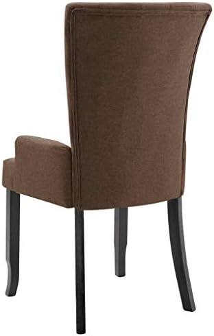 vidaXL 2X Chaises de Salle à Manger avec Accoudoirs Chaises à Dîner Chaises de Repas Meuble de Cuisine Salon Intérieur Maison Marron Tissu